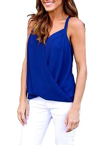 GTKC Mujeres Sling de Gasa de la Camiseta Tank Top Damas Jersey Camiseta sin Mangas Casual Blusa