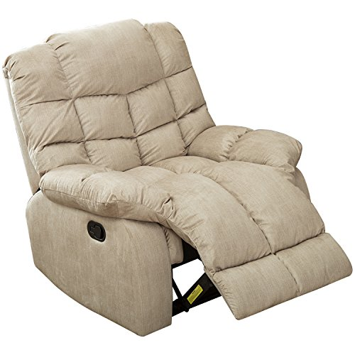 Recliner Swivel Leather Glider Full (BONZY Recliner Chair with Over Stuff Backrest Wide Seat Recliners - Cream)