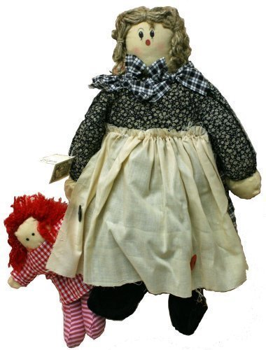 Rag Doll 18 Inches with Yarn Hair and Black Calico Dress with Beige Skirt and Blue Plaid Scarf with Baby (Calico Scarf)