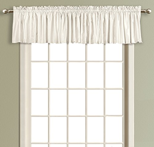 "United Curtain Lincoln Interlined Faux Silk Window Valance, 54 x 18"", White"