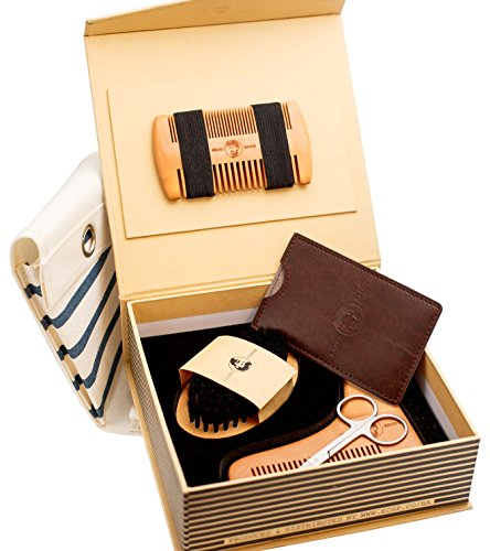 Beard kit – beard BRUSH and COMB, SHAPING TEMPLATE & TRAVEL BAG + 2 GIFTS! Beard men wished GIFT SET for a Professional beard care, styling, grooming & trimming by BeardAbout