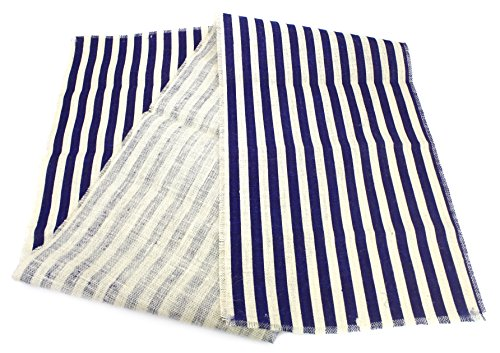 Kel-Toy Inc 15-Inch-by-72-Inch Striped Burlap Table Runner, Off White + Navy