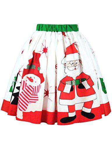A Wllw Natale Epoca Altalena Pieghe Gonna Claus Bianco Skater Santa Svasata Delle Donne rqrA8fwM