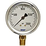 WIKA 9767142 Industrial Pressure Gauge, Liquid/Refillable, Copper Alloy Wetted Parts, 2-1/2