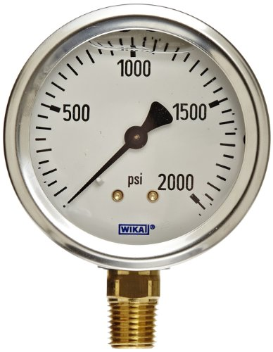 (WIKA 9767142 Industrial Pressure Gauge, Liquid/Refillable, Copper Alloy Wetted Parts, 2-1/2