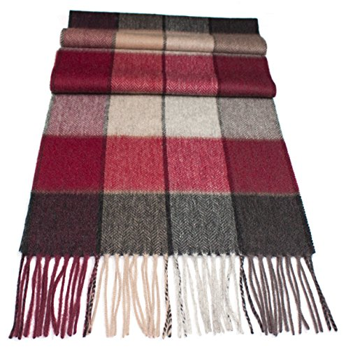 Pure 100% Wool scarf. Highest quality workmanship and material. Soft, brushed new wool. Classic design. Various colors available. (beige/ burgundy red/ grey) (Burgundy/beige/grey) Brushed Wool Scarf