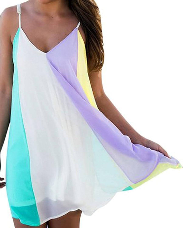 AIYUE Damen reizvoll Tiefe V Ausschnitt Sommer locker ärmellos RegenBogen Minikleid Chiffon Träger Strandkleid