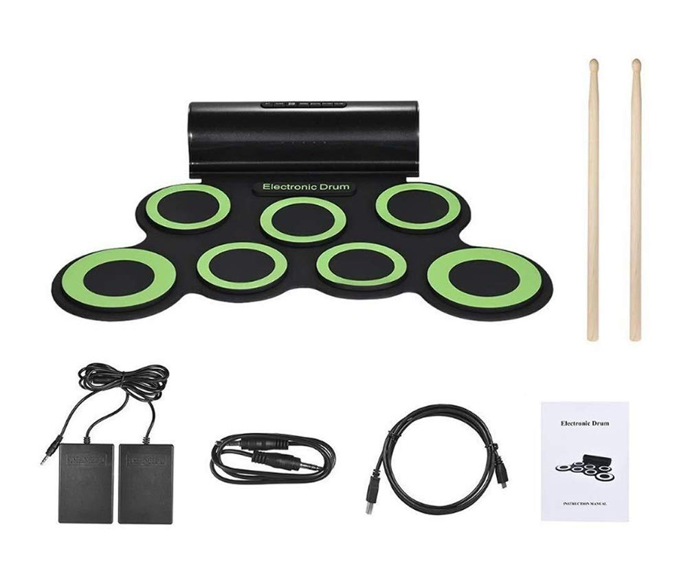 Electronic drum Set, Portable Drum, 9 Pads Portable USB G3001 Electronic Roll Up Drum Pad Kits Foldable Practice Instrument with (Color : Green)