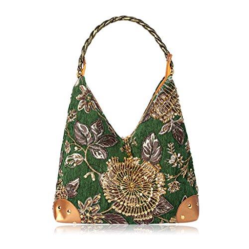Handbag Sequin Green Flower Bead 6 Colors Purse Lady Messenger Wanfor Women Embroidery Ethnic Tote Bag Style Handmade Shoulder Bag UWYnffI0a