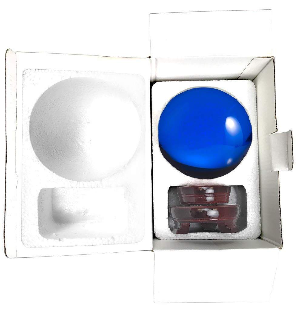 Amlong Crystal Blue Crystal Ball 130mm (5 inch) Including Wooden Stand and Gift Package by Amlong Crystal