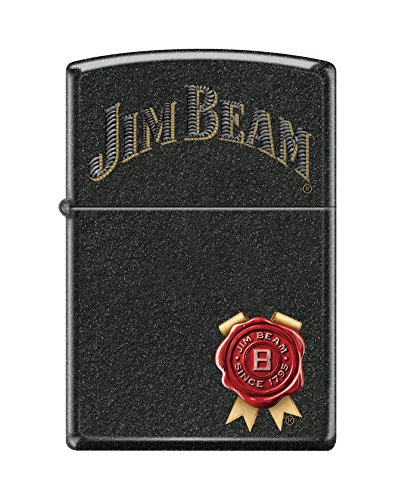 Zippo Jim Beam Black Crackle Pocket (Black Crackle Lighter)