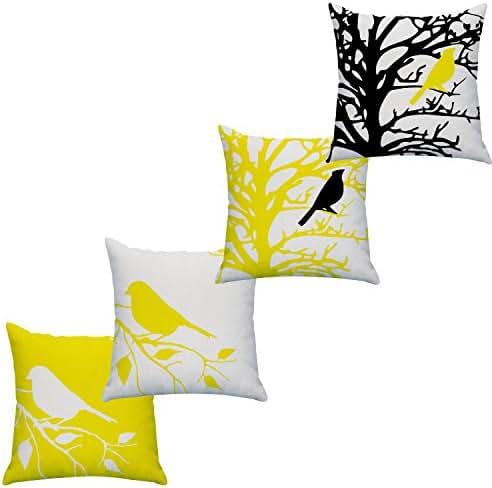 LAZAMYASA Square Cartoon Bird Printed Cushion Cover Cotton Throw Pillow Case Sham Slipover Pillowslip Pillowcase for Home Sofa Couch Chair Back Seat,4PCS,Yellow,18x18in