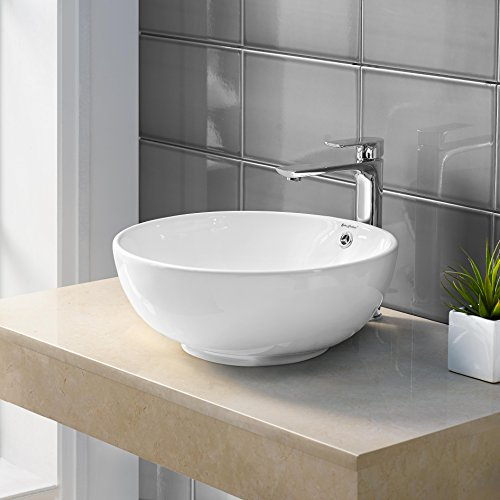 Madison Bathroom Vanity - Swiss Madison SM-VS212 Sublime Ceramic Porcelain Round Vessel Vanity Art Basin Bathroom Sink With Overflow