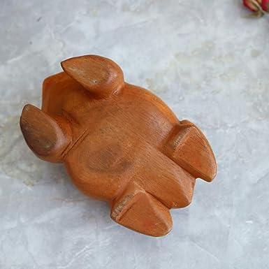 Strumento a percussione del commercio equo e solidale Divertimento per tutte le et/à Colore di legno Ogquaton Mini rana di legno di alta qualit/à Gracidante Guiro