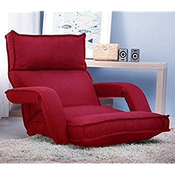 merax fabric folding sofa chair floor chaise lounge gaming chair red