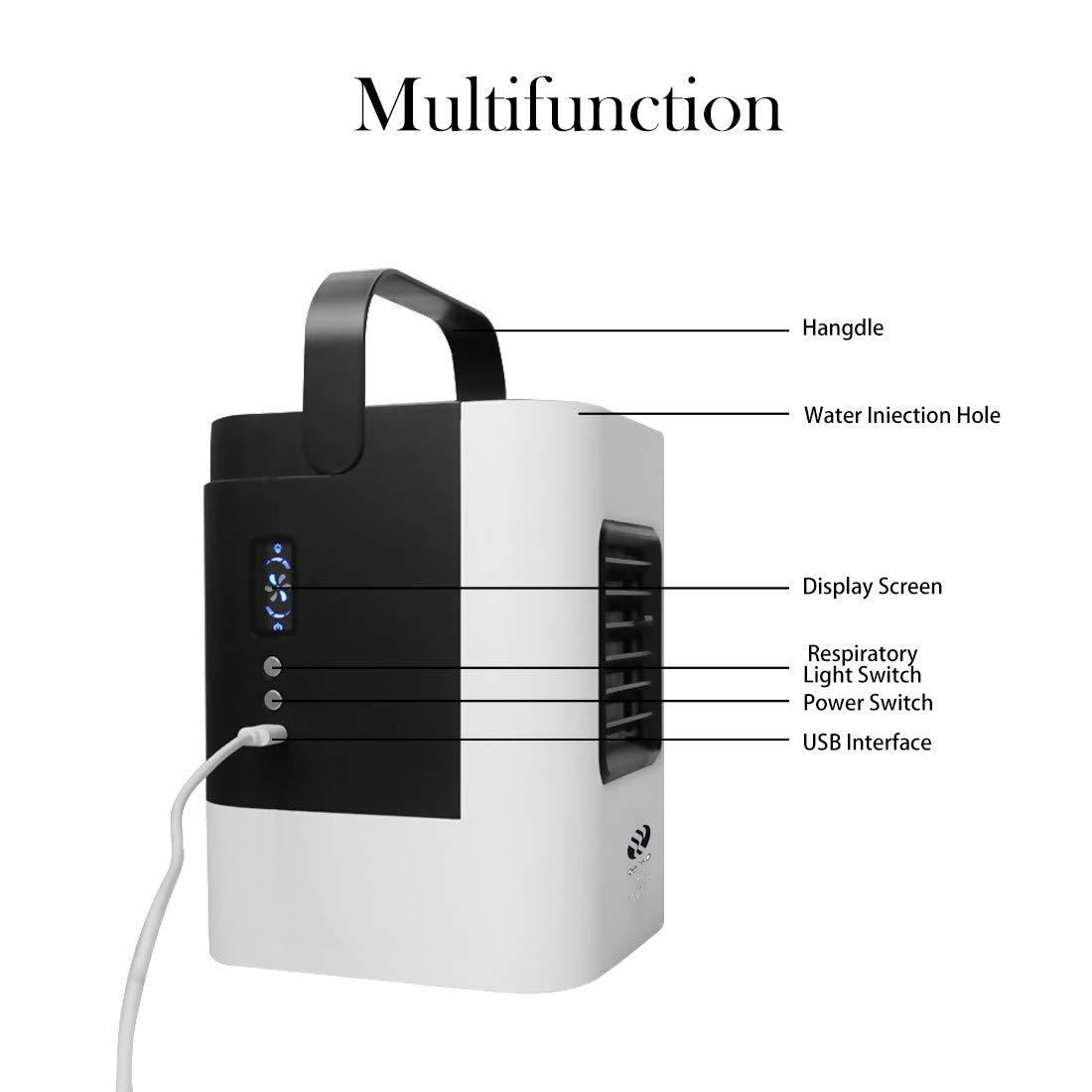 purificazione Mini condizionatore Portatile 3 in 1 Refrigerazione Multifunzione umidificazione Mini USB condizionatore Portatile Senza Tubo di Scarico Piccolo condizionatore Portatile Silenzioso