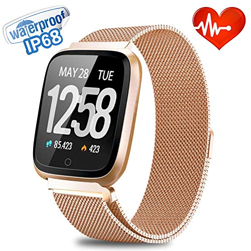Smart Watch | [Big Reduction] Waterproof Fitness Tracker Sport Watch |【Stainless Steel】 Men Women Wrist Watch | Heart Rate Blood Oxygen Monitor | Outdoor Running GPS Watch & Activity Tracker (Gold)