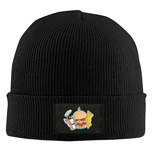 Mr.Roadman Unisex French Fries With Hamburger Elastic Knitted Beanie Cap Winter Outdoor Warm Skull Hats One Size Black