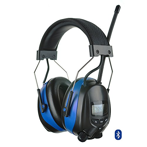 Protear Bluetooth FM/AM Radio Safety Earmuffs Electronic Noise Reduction Audio Ear Defenders Hearing Protector Working Mowing Ear Protection Headphones-Phone/MP3 Stereo Jack-Height adjustable-NRR 25dB