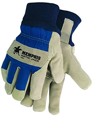 MCR Safety 1956XL Artic Jack Split Pigskin Leather Thermosock Lined Gloves with 2-1/2 Cotton Knitted Wrist, Blue/Tan, X-Large, 1-Pair