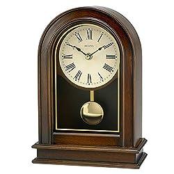 Bulova B7467 Hardwick Beige Dial Walnut Solid Wood Mantel Clock