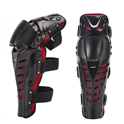 Roller Guards Shin (Kagogo 1 Pair of Adults Fashion Knee Shin Armor Protect Guard Pads Accessories with Plastic Cement Hook for Motorcycle Motocross Racing (Black/Red))