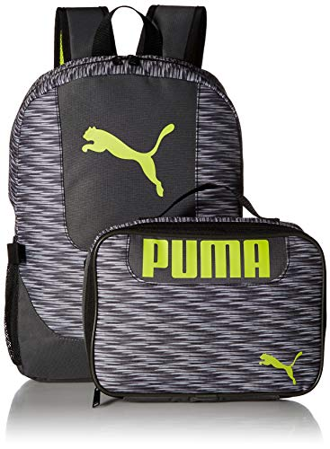51GIl3%2BEbVL - PUMA Big Kid's Lunch Box Backpack Combo, gray/green, OS