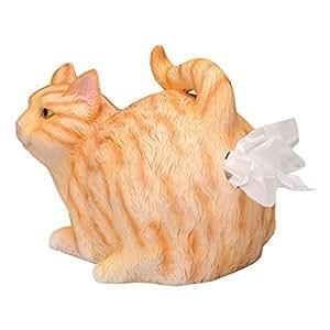 (Orange Tabby) - Cat Butt Tissue Holder - Orange Tabby Resin - Fits Standard Tissue Box