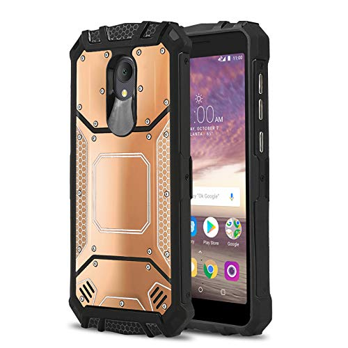 Phone Case for [ALCATEL TCL LX (A502DL)], [Alloy Series][Rose Gold] Aluminium [Metal Plate] Military Grade Cover for Alcatel TCL LX (Tracfone, Simple Mobile, Straight Talk, Total Wireless)
