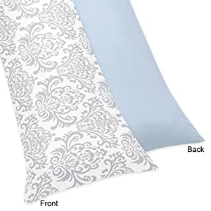 Sweet Jojo Designs Blue, Gray and White Damask Print Avery Full Length Double Zippered Pregnancy Body Pillow Case Cover