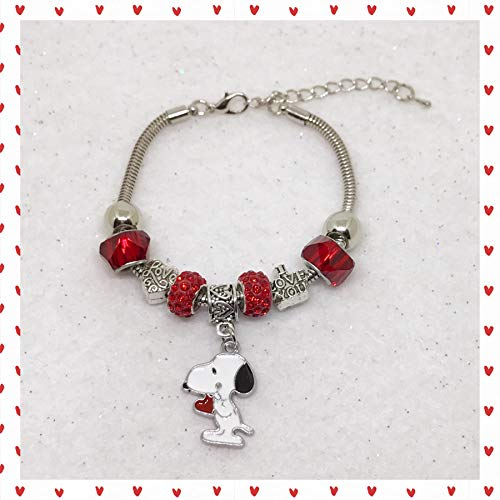 Peanuts Inspired Snoopy Valentine's Day Charm Bracelet]()
