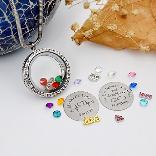 Beffy Daughter or Mom Love Gift, Memory Floating Locket Pendant Necklace with Birthstones & Charm for Morther Mom Mammy Mama or Girls by Beffy (Image #3)