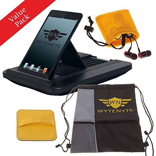 WyteNyte Ipad Holder with Pillow and Multi-Angle Function, Pack Includes Earbuds, Cleaning Pad & Backpack - Suitable for All Tablets & Ipads - Tablet Travel Set is Ideal for Bed, Car, Airplane Travel