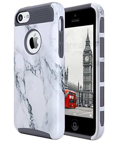 iPhone 5C Case, ULAK Slim Lightweight dual layer protection iPhone 5C Cases Hybrid with Soft Rugged TPU Inner Skin and Hard PC Anti Scratches Protective Cover for Apple iPhone 5C, Artistic Marble