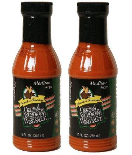 Frank & Teressa's Original Anchor Bar Buffalo Wing Sauce (2 Pack) Medium Heat, 12 oz Bottles by Anchor Bar