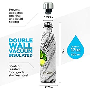La Vida Stainless Steel Insulated Water Bottle - BPA-Free, Double Walled, Leakproof, Swell - Cola Shape Travel Vacuum Bottle - No Sweating, Keeps Your Drink Hot Cold, 17 Oz (500 ml)