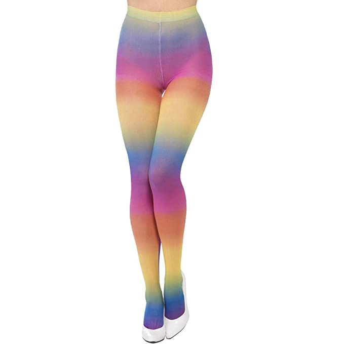 d57683b6bb611 Amakando Rainbow pantyhose Opaque tights multicolour 80s panty hose Pants  carnival costume colourful stockings women Clown Leggings: Amazon.co.uk:  Toys & ...