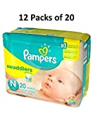 Pampers Size Newborn Swaddlers Diapers, 240 Count (Case)