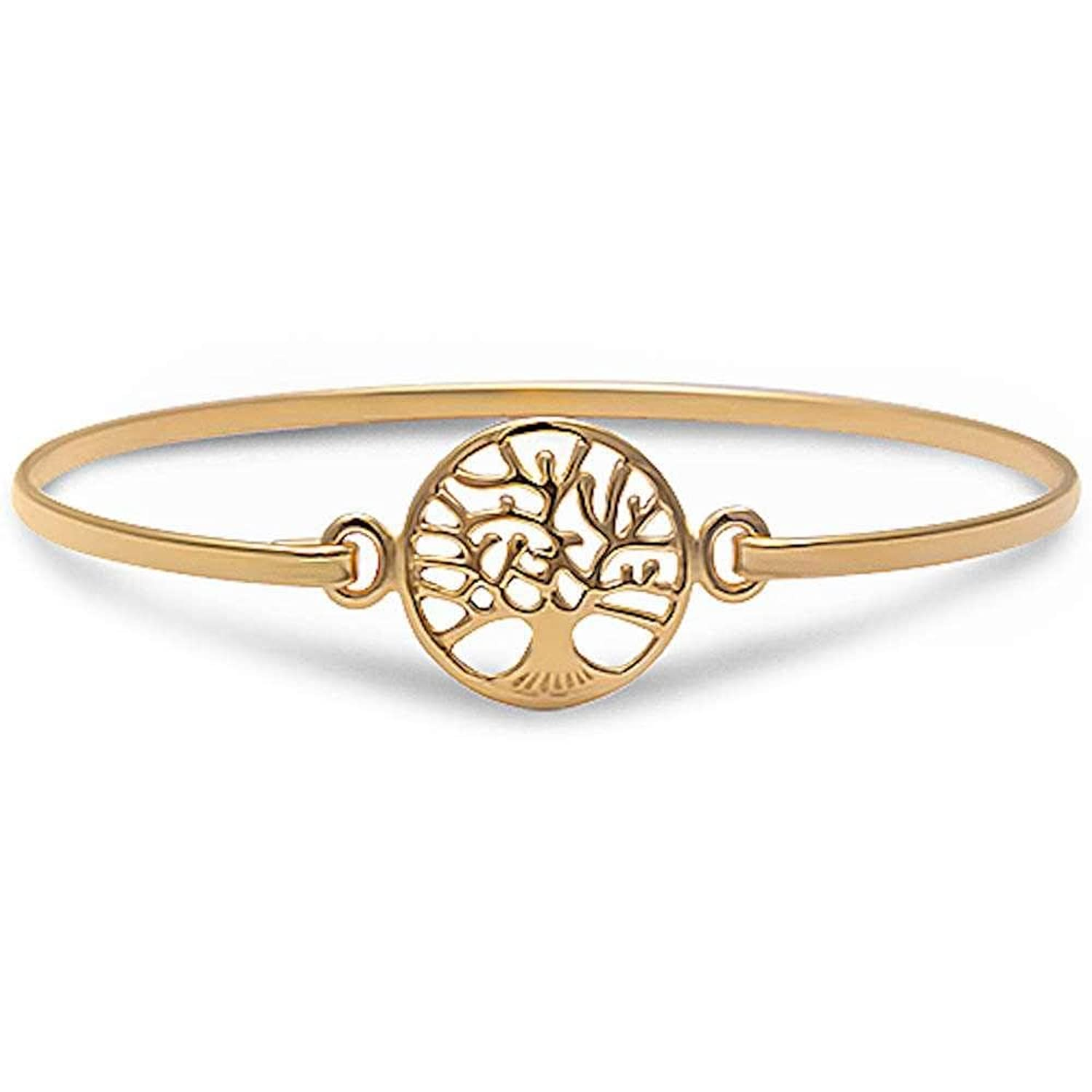 """Brightt Yellow Gold Plated Solid Tree of Life Bangle Style .925 Sterling Silver Bracelet 5. Measurements: 2.5""""x2""""(cross 1""""x.5"""") Wrist 7.25"""" 60mm wide 2.3"""""""