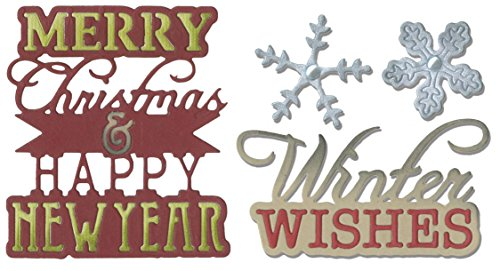 Sizzix Thinlits Die Sets - Merry Christmas, Happy New Year, Winter Wishes and Snowflakes - Two item - Christmas Happy Wishes And Year New