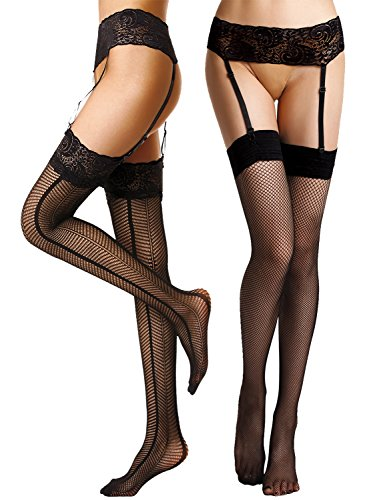 Sexy Black Belt (Begirlly Womens Sexy Sheer Suspender Seamed Tights Garter Belt Thigh High Stockings 2)