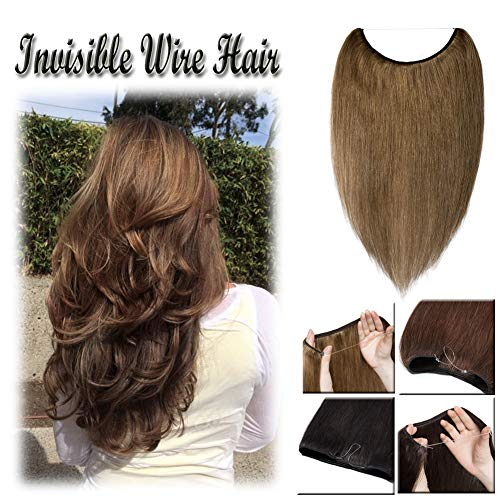 16-22inch Flip on Human Hair Extensions Hidden Wire Crown in Hairpiece Secret Translucent Fish Line No Clip Miracle Headband - 22