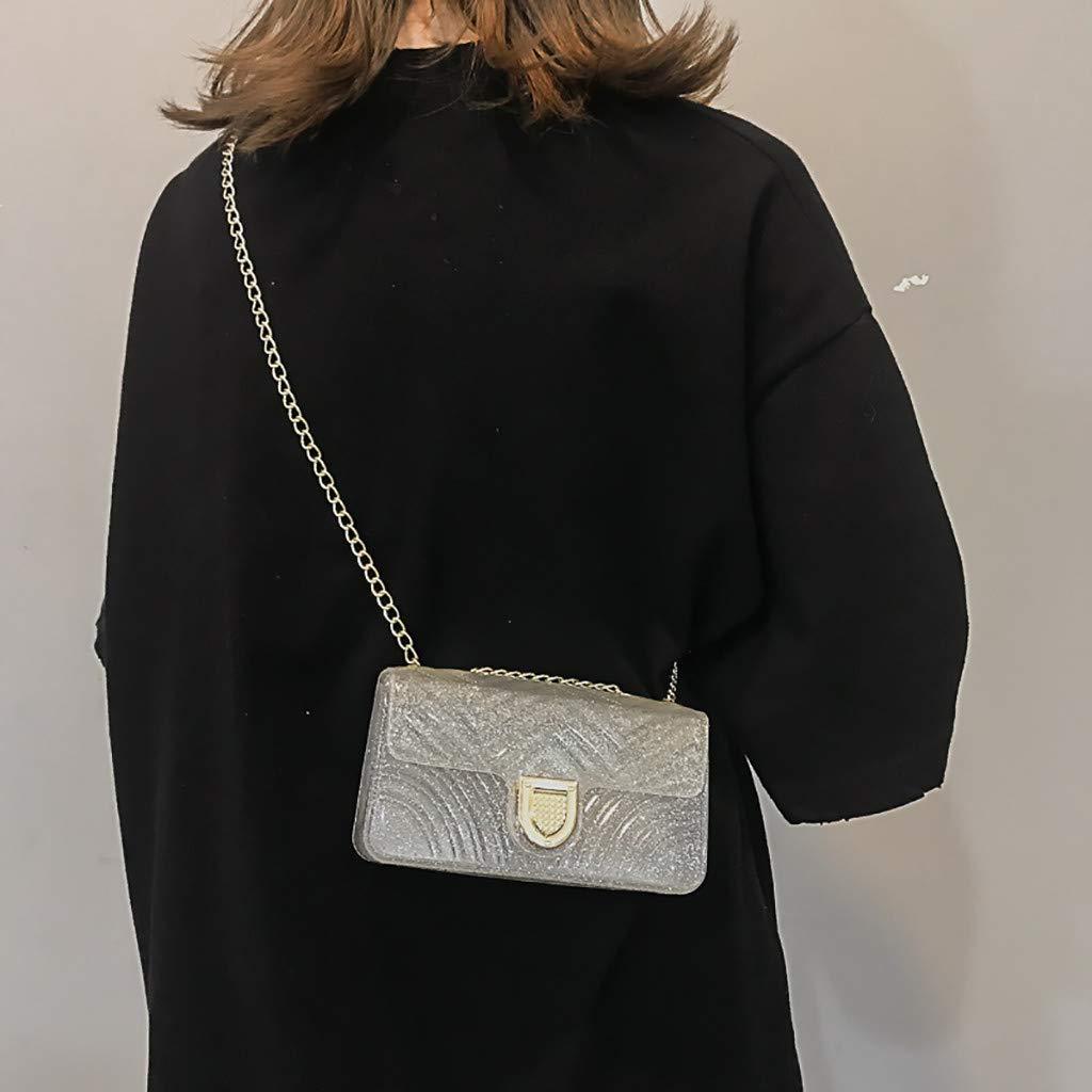Purses, Bamboo Bag,Women Chain Shoulder Bag Fashion Wild Messenger Bag Small Square Bag Silver by Makeupstory (Image #1)