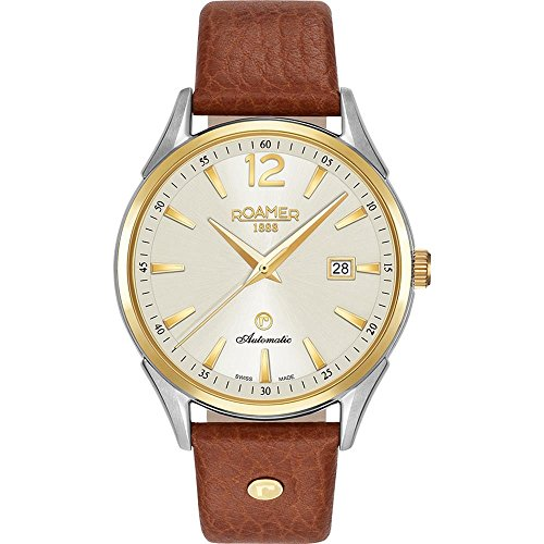 Roamer of Switzerland Men's 41mm Brown Leather Band Steel Case Automatic Analog Watch 550660 47 35 05