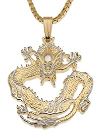 Chinese Dragon Pendant & Necklace, Chinese Coin Hand Cut