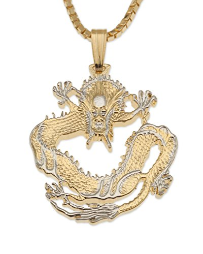 Chinese Dragon Pendant & Necklace, Chinese Coin Hand Cut (Oriental Design Necklace Set)