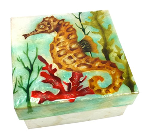 Kubla Craft Seahorse Capiz Shell Keepsake Box, 4 Inches Square