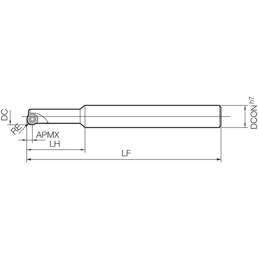 1 Flute Radius End Mill with a 12.00mm Cutting Diameter for Shouldering Plunging Pocketing Kyocera MRP 012S1608 MRP Series Facing Applications Standard Length Shank