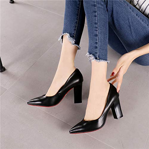 HRCxue Pumps Komfortable Kamelspitzeschuh Einzelne Schuhe Mode Retro Spitzen dicken dicken dicken Ferse Damen Arbeitsschuhe 651e52