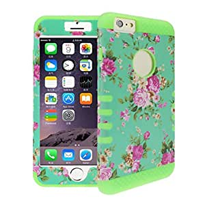 Sandistore Orchid Flower Combo Hybrid Silicone Case Cover For iPhone6 (Green)